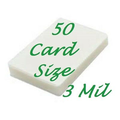 Laminating Laminator Pouches Sheets Card Size {50 pc} 3 Mil (2-3/4 x 4-1/2)