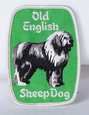 Rare Vintage Old English Sheepdog Patch Green with White Border