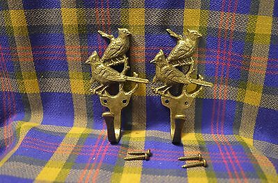 Unique Pair of CARDINALS Brass Coat Hooks w/Screws