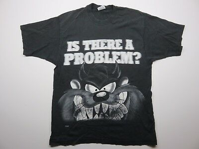 """Tasmanian Devil """"Is There A Problem?"""" Looney Tunes Warner Bros Sz L Made in USA"""