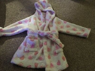 Baby Girls Dressing Gown Size 12-18 Months. Tie Waist With Hearts