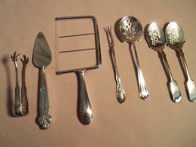 Antique 7 Serving Flatware Pieces-4 Marked Sterling