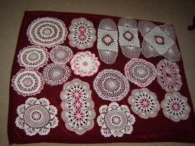 Mixed Lot of 18 Real Nice Hand Crocheted  Doilies