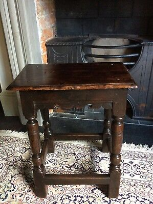 17th Century English Oak Joint Stool William Mary Queen Anne