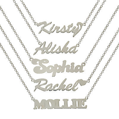 Sterling Silver Name Plate Chain Necklace With Curb Chain Extension Extenders