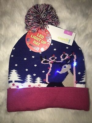 Capelli New York Christmas Reindeer Multi-Color Hat Beanie LED Light Up Sz 7-14
