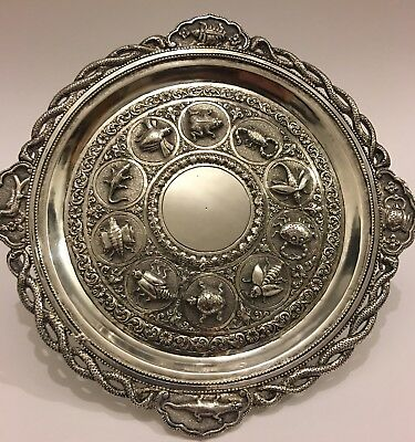 MAGNIFICENT ANTIQUE INDIAN SOLID SILVER TRAY/ DISH signed C.Krishniah Chetty