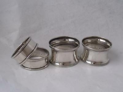 2 Pairs of Antique Solid Sterling silver Napkin Rings: Chester/ Birmingham/ 44g