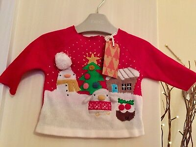 BNWT Next Baby Unisex Red Snowman Christmas Jumper Top 0-3 Months