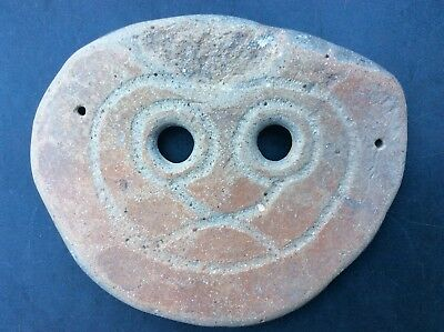 4th to 3rd Century BC Ceramic Inscribed Face Mask Wall Art Primitive Antiquity