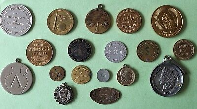 Lot 18 Tokens Coins Good For Trade 1939 Silver Dime & Others Look See