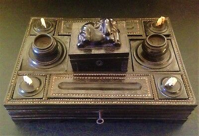Rare Victorian Fine Quality Indian Ebony Inlaid Decorative Writing Box