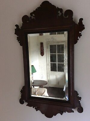 18th Century Small English Walnut Fret Cut Mirror Georgian George I George II