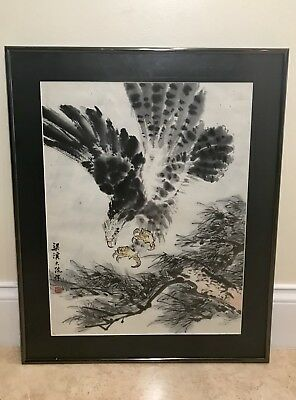 Outstanding Chinese Eagle Hawk Watercolor Painting - Signed & Framed