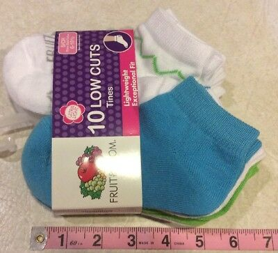 FRUIT OF THE LOOM GIRLS LOW CUT SOCKS 10 PACK SIZE Small 6-10.5 Lightweight NEW