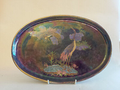 Lovely large unusual Art Deco Maling lustre tray/dish with exotic birds