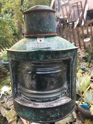 Antique Marine Lamp Starboard Nautical Lantern Perko Style...