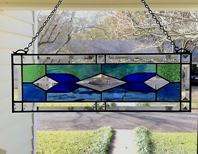 """Victorian Style Stained Glass Window Panel w/Bevels  - approx size 19"""" x 6"""""""