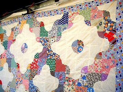 Vintage 1930's lattice quilt top snow ball hand quilted pastel pink