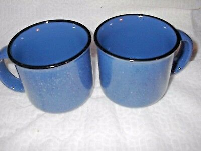 Marboro Unlimited Blue Speckled Coffee Mugs/Cups ~ SET OF 2 ~ !!