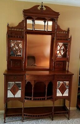 HANDCRAFTED Gorgeous Antique 19TH Century STATELY StepBack ETAGERE Cabinet & KEY