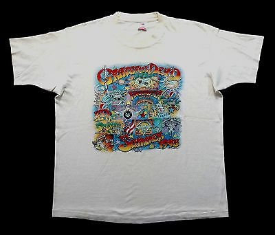 Grateful Dead Shirt T Shirt Vintage 1995 Summer Tour Cartoon Cities Venue GDM XL