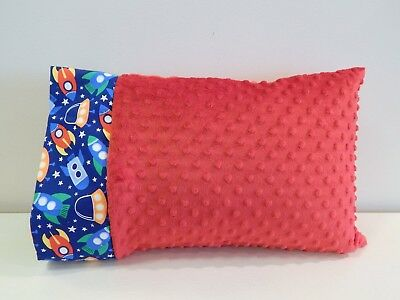 NWT To the Moon and Back Rocket Space Ship Minky Toddler Pillowcase 12x16 Napmat