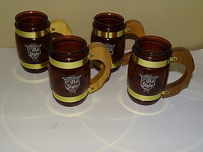 "Vintage Lot Of 4 Heileman""s Old Style Beer Mugs With Wooden Handles Fiesta Ware"