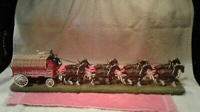 Danbury Mint Budweiser  Clydesdale Eight Horse Hitch And Wagon