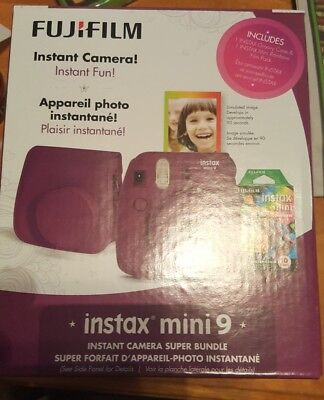 Fujifilm Instax Mini 9 Instant Camera Super Bundle Brand New In The Box (PLUM)