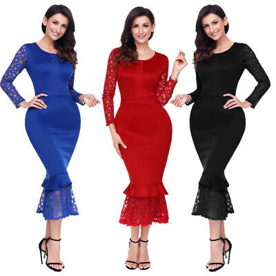 Sexy Hollow Out Long Sleeve Lace Ruffle Bodycon Midi Formal Party Evening Dress