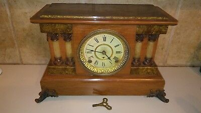 1800s/EARLY 1900s SETH THOMAS ADAMANTINE PILLARS/LIONS HEADS WINDUP MANTLE CLOCK