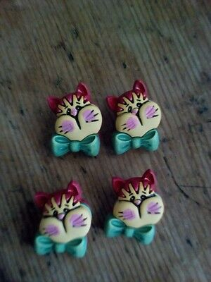 Green Bow Kitty Shank Buttons