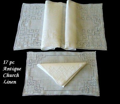 EXQUISITE 17pc Antique Italian CHURCH LINEN  Lace Placemats RARE Find PRISTINE