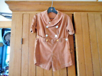 VINTAGE 1930's BROWN CHILD'S HOMEMADE JUMPER SHORTS W/PEARL BUTTON CLOSURES