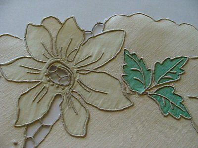 FAB 13pc Vtg MADEIRA Linen Placemats Dessert Tea Hand Embroidered Cutwork