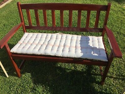 Timber Bench Seat With Cushion VGC - Buy Now.