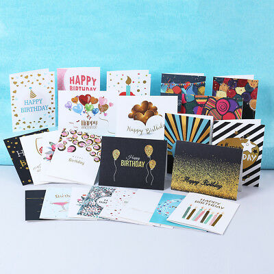 Pack of 24 General Birthday Cards + 26 Envelopes,Unisex for Special Gifts