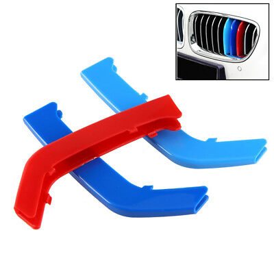 M Color ABS Kidney Grill Bar Grille Covers Decal Strip Clip For   3 Series F30