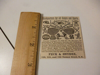 Antique 1882 Peck & Synder Sporting Goods Original Illustrated Print ad