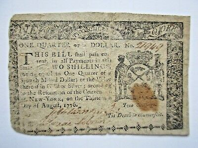 Colonial Currency New York 1776 $1/4 , Fine (2 shillings)