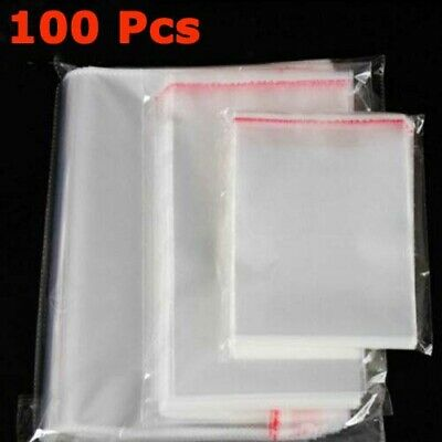 100 Pcs/Lot Cellophane Self Adhesive Resealable OPP Poly Bags Clear Color