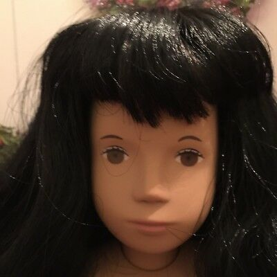 "VINTAGE SASHA 17"" SERIE SARI DOLL UNMARKED MADE in ENGLAND HTF BLACK FULL HAIR"