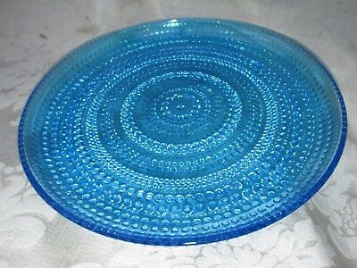 Vintage Art Blue Glass PLATE DISH Hobnail Raised Dot Pattern 25CmW