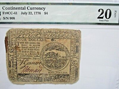 Continental Currency 1776, $4 Fr CC-41, PMG Very Fine 20