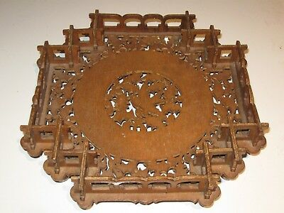 Very Detailed Antique Christmas Folk Art Woodenware Chip Carved Tray W/ Dove