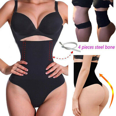 Tummy Control Glamour Body Shaper Womens Thong G String High Waist Trainer Panty