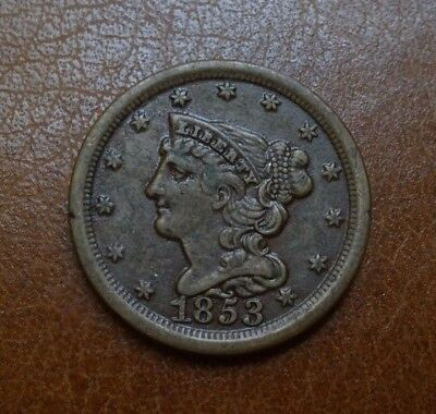 1853 Braided Hair Half Cent, Xf