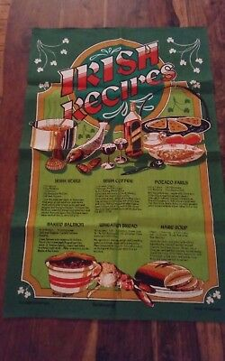 Vtg  linen cotton Irish recipes tea towel stew wheaten bread causeway