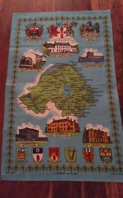 Vtg  linen tea towel Northern Ireland map landmarks Ulster blues greens